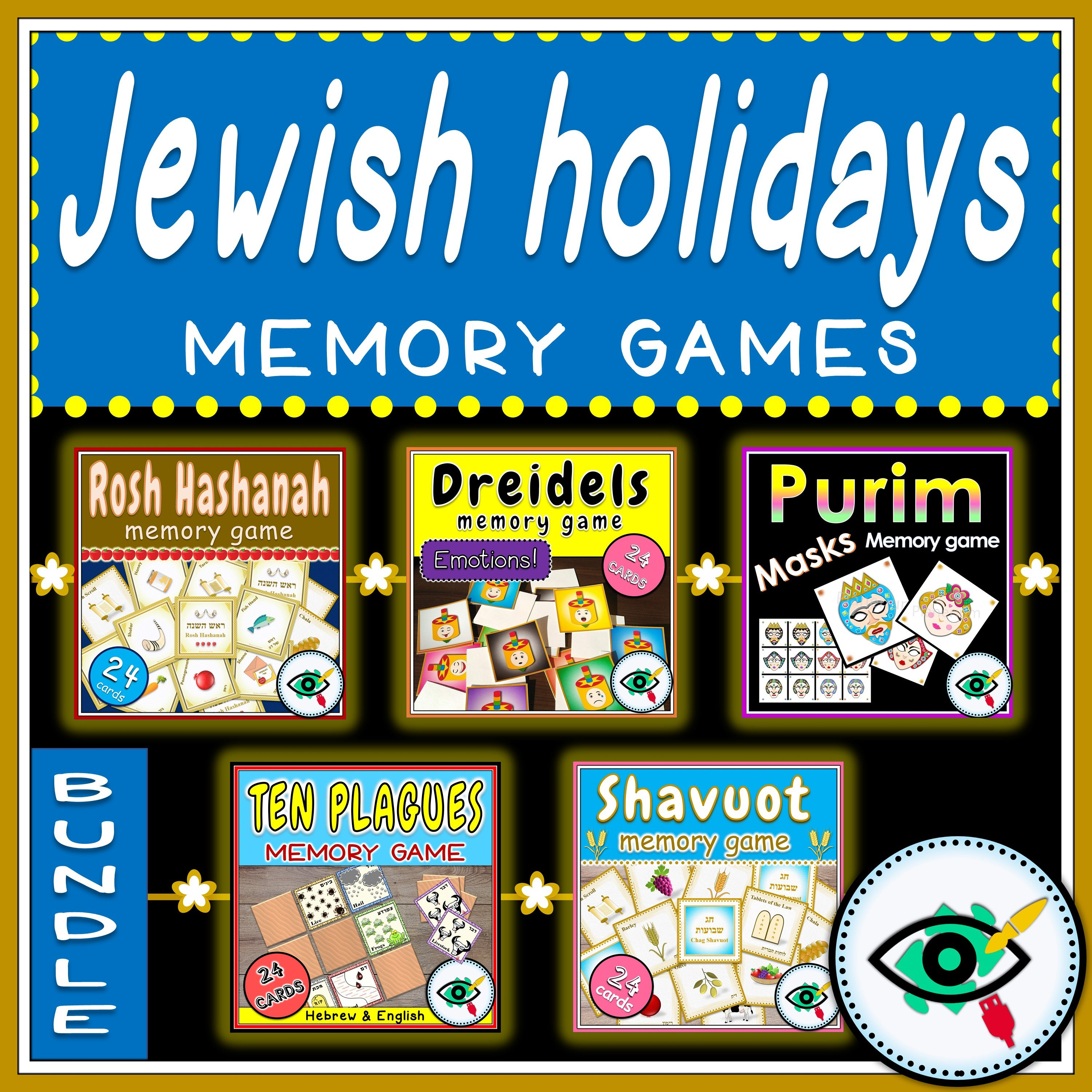 photo about Hebrew Games Printable titled Jewish Vacations Memory Video games Offer