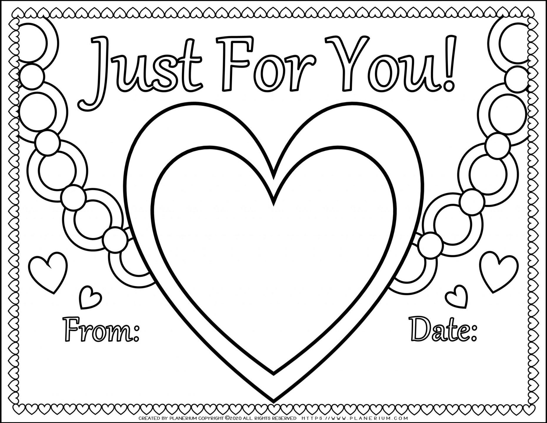 Valentines Day Coloring Page Big Heart For You