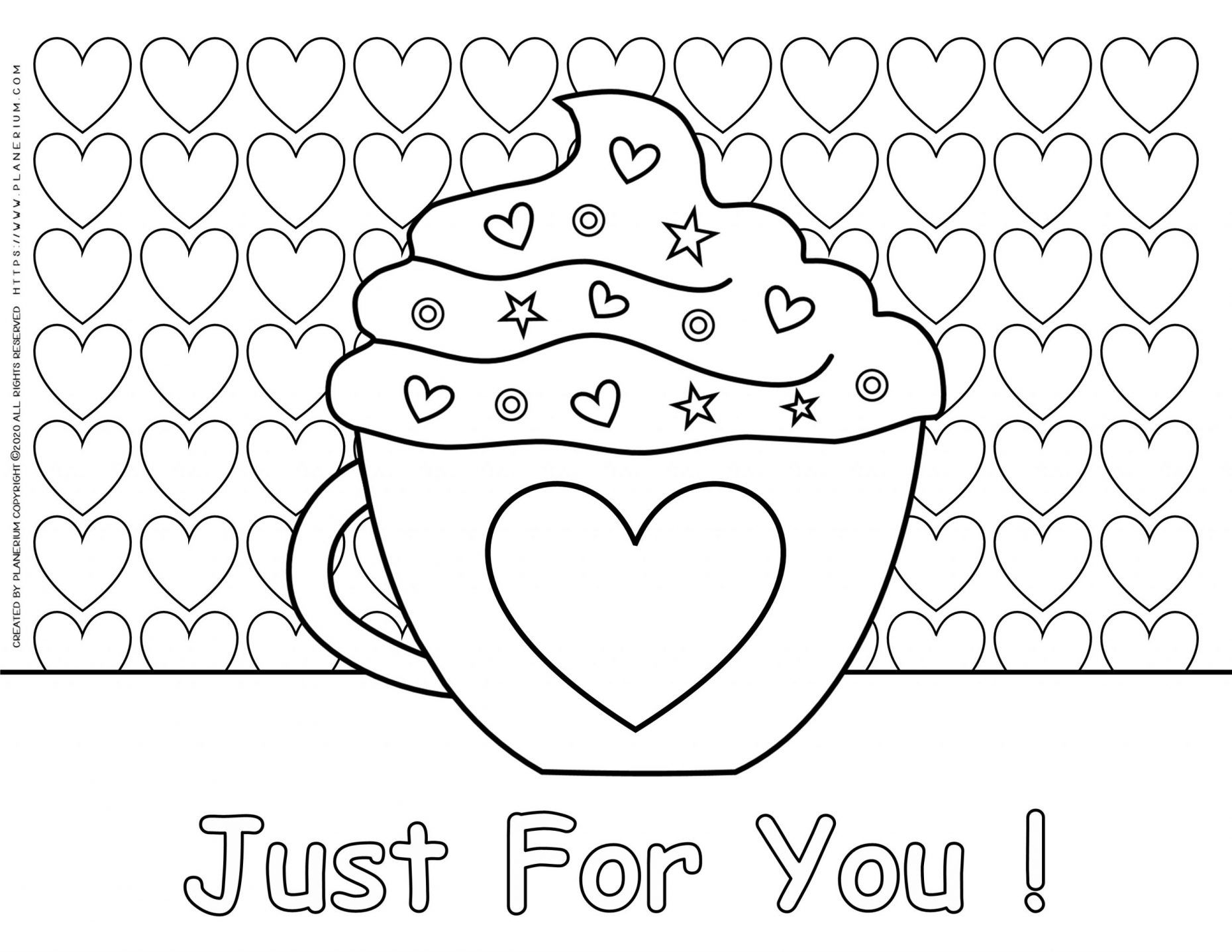 Valentines Day Coloring Page Heart Mug