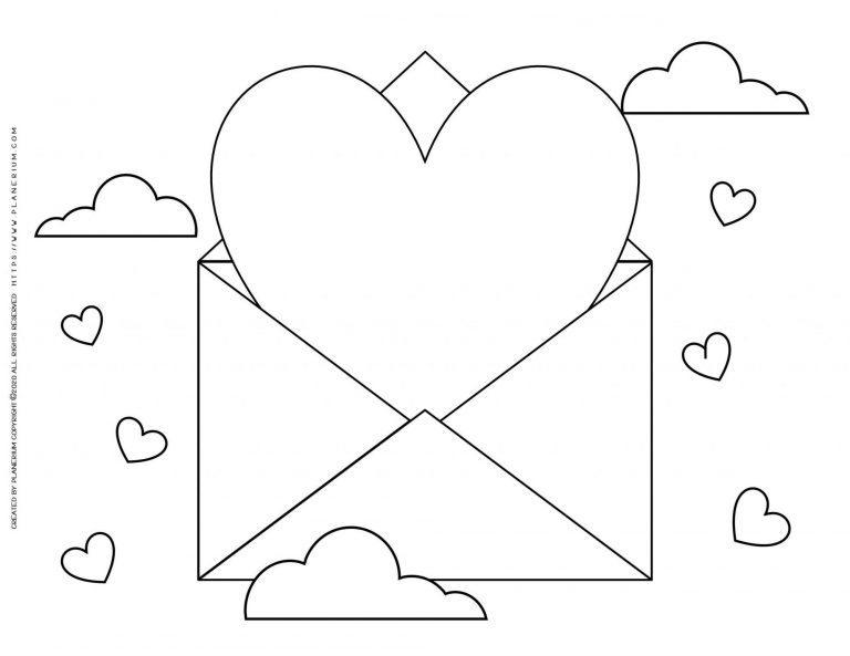 Valentines Day Coloring Page Big Heart Letter