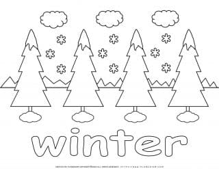Winter Coloring Page - Four Trees in Snow   Planerium