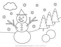 Winter Coloring Page - Smiling Snowman | Planerium
