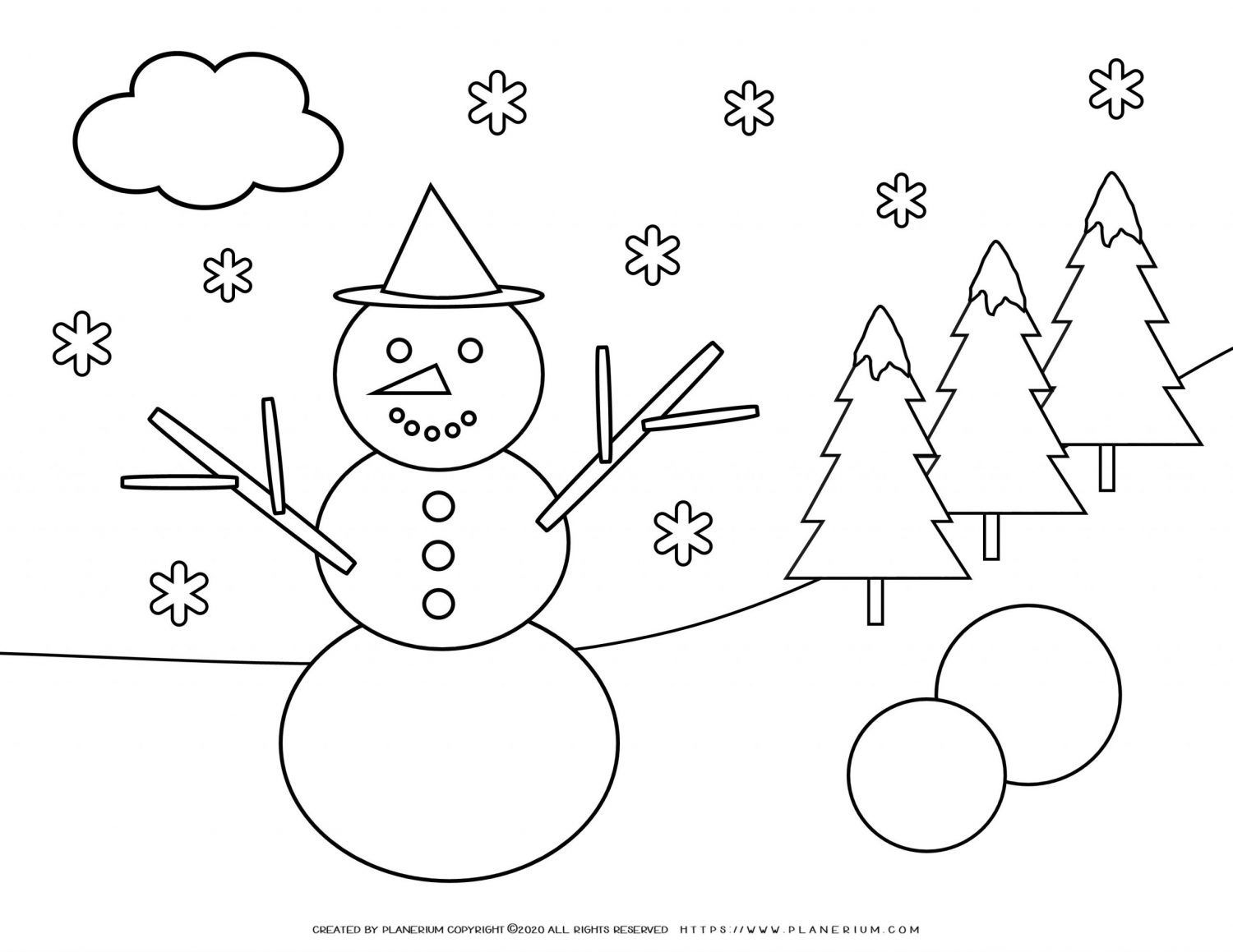 Winter Coloring Page - Smiling Snowman | Planerium