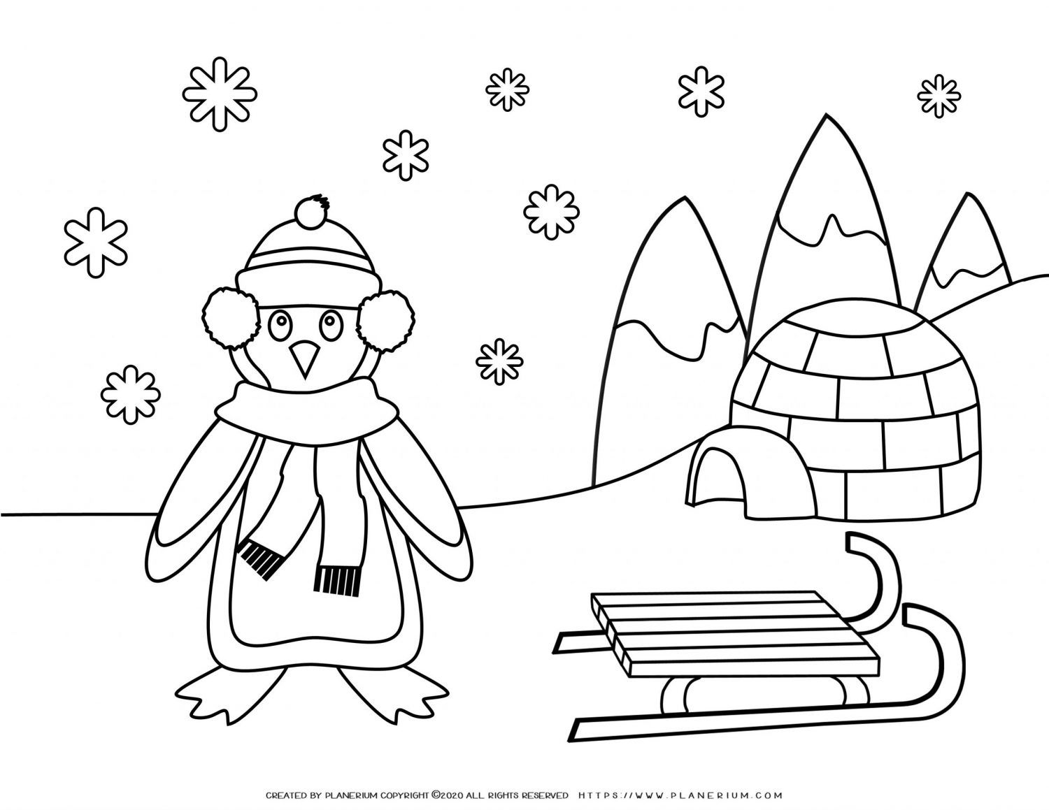 Winter Coloring Page with Penguin in Snow