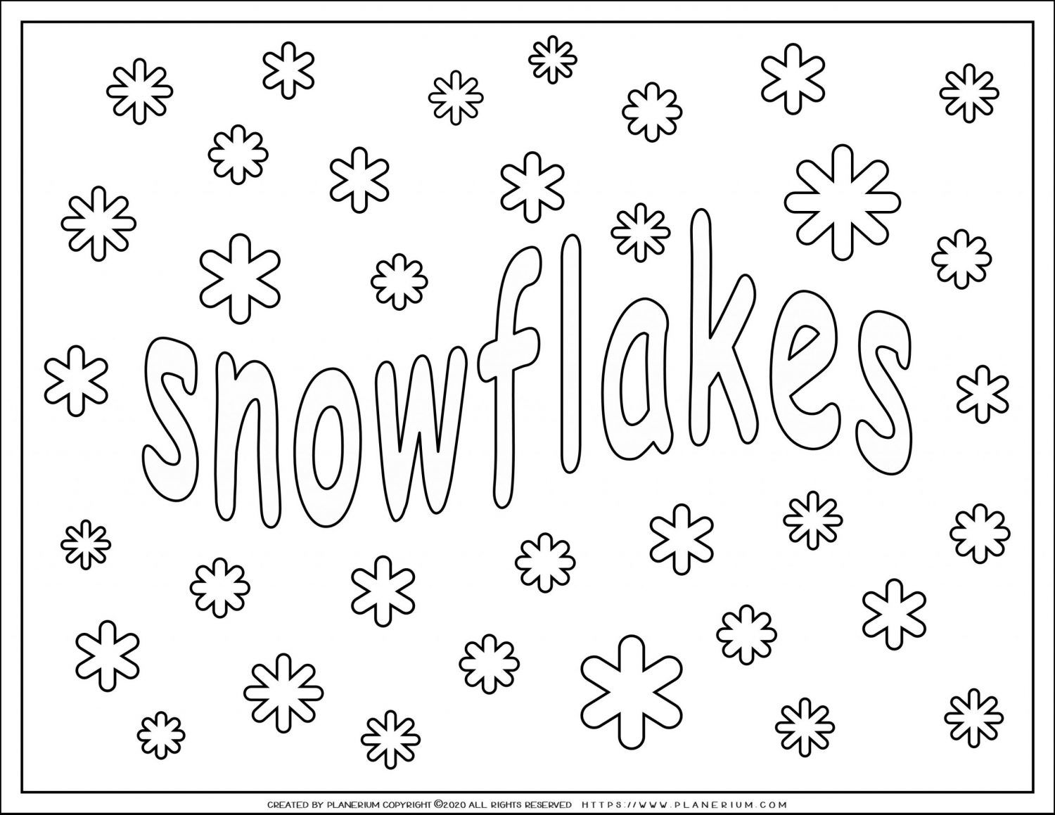 Winter Coloring Pages Snowflakes Planerium