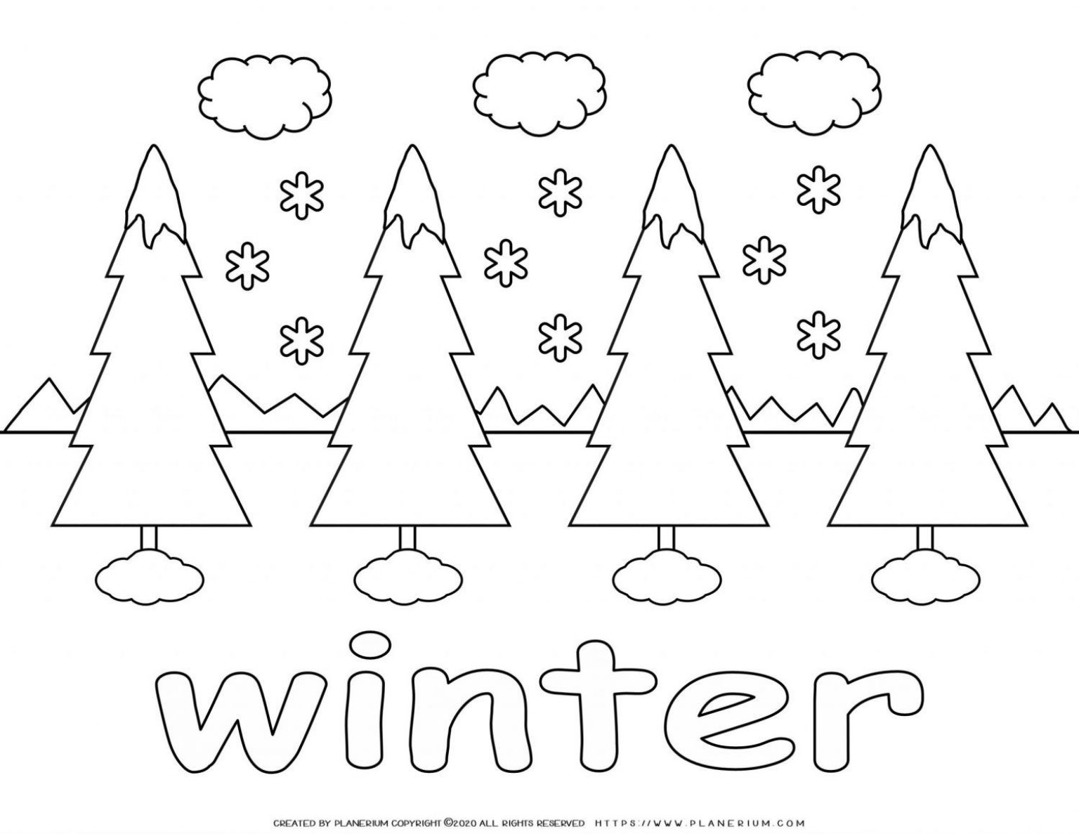Winter Coloring Page - Four Trees in Snow | Planerium