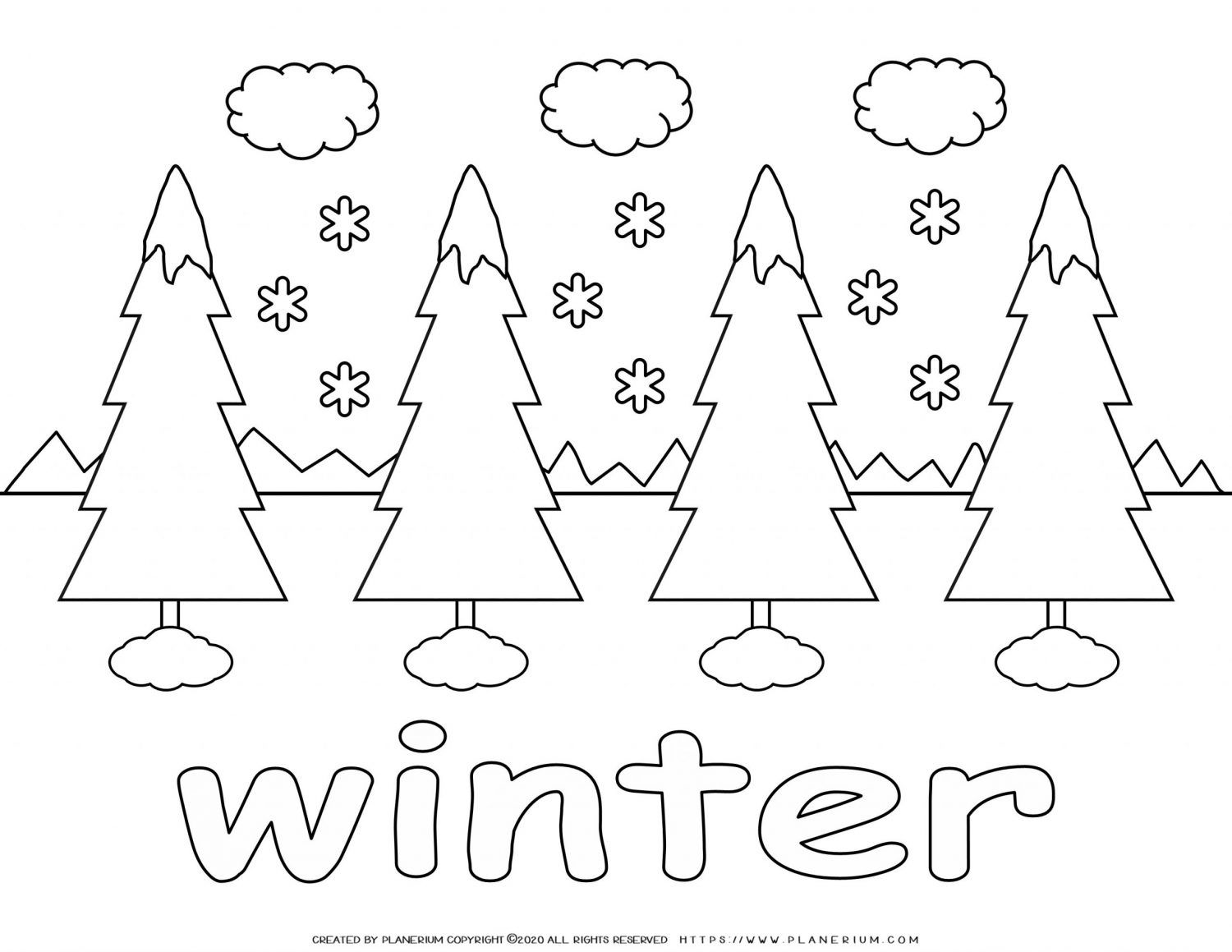 Winter Coloring Page Trees in Winter