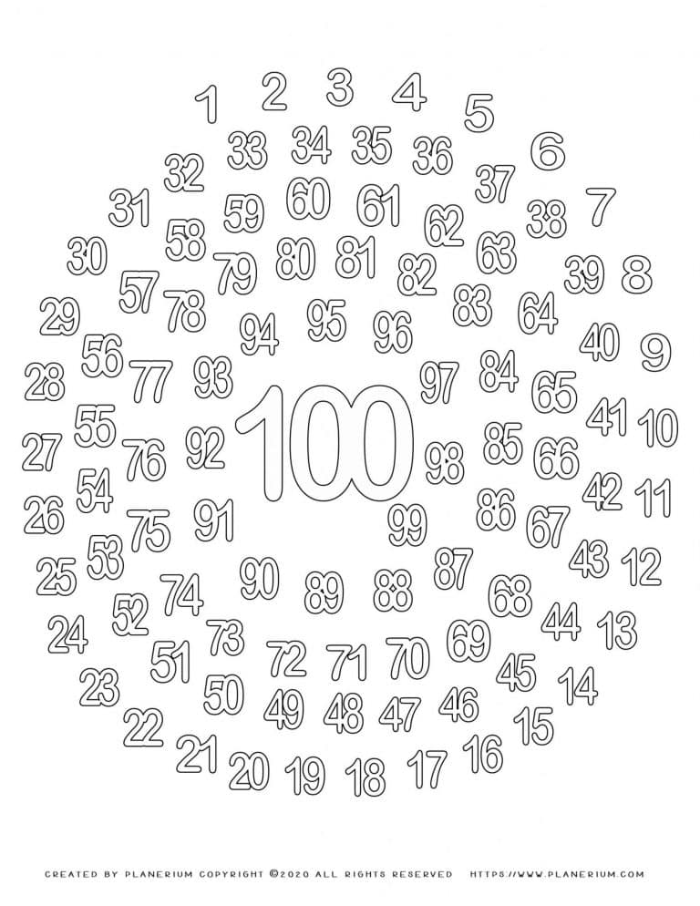 100 Days of School - Coloring Page - 1 to 100 Spiral | Planerium