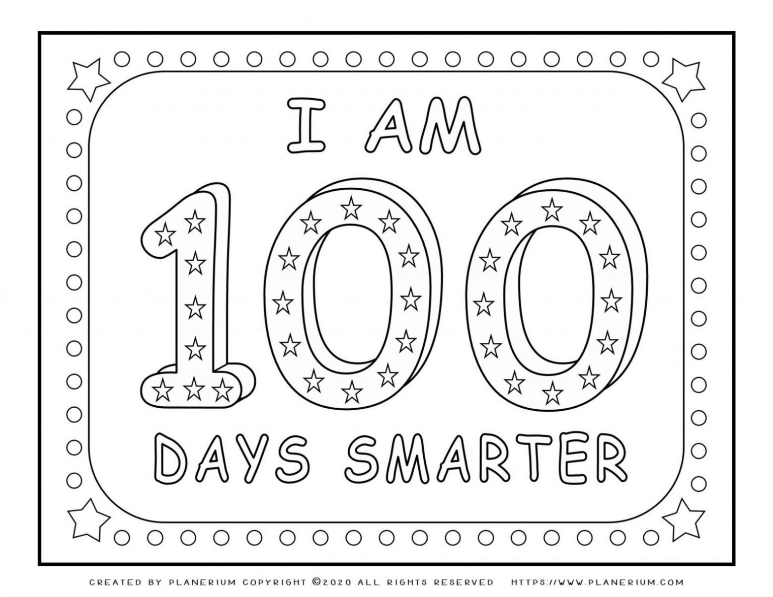 100 Days of School - Coloring Page - 100 Days Smarter | Planerium