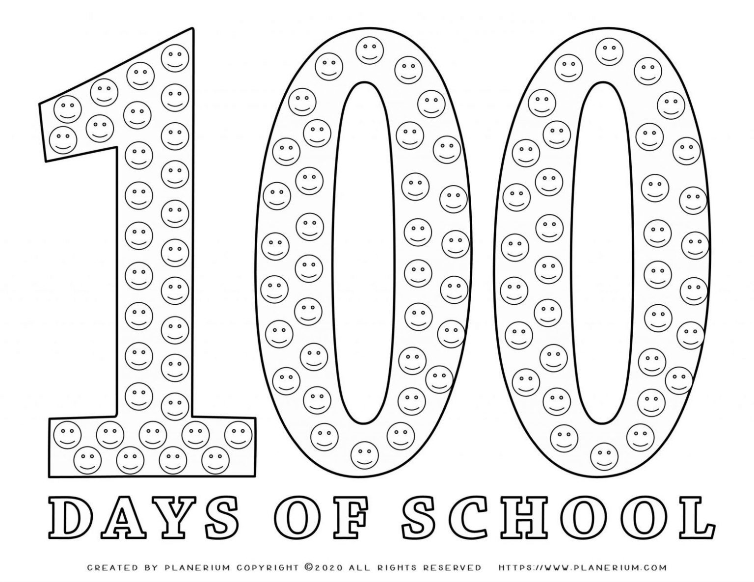 100 Days of School - Coloring Page - 100 Smileys | Planerium