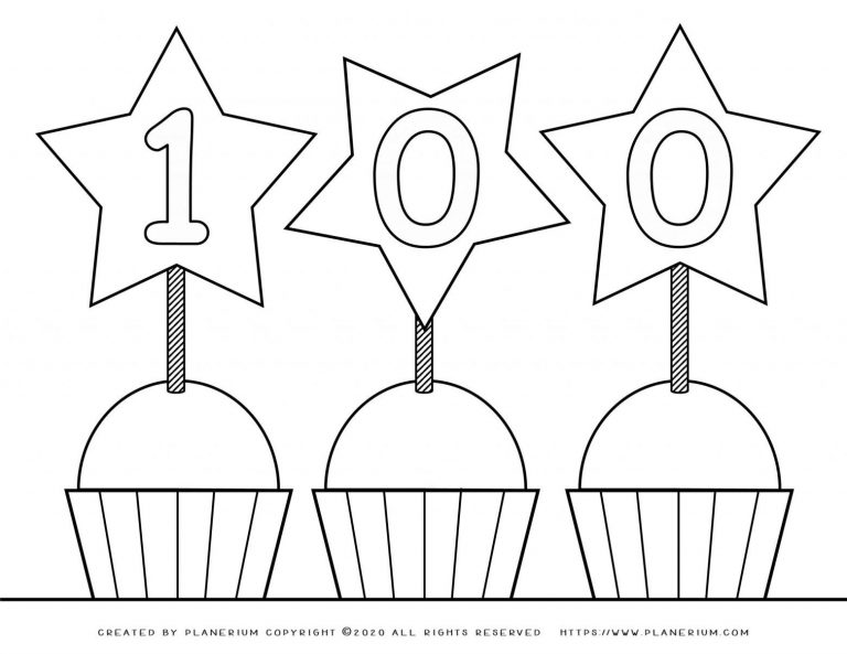 100 days of School - Coloring Page - Stars | Planerium