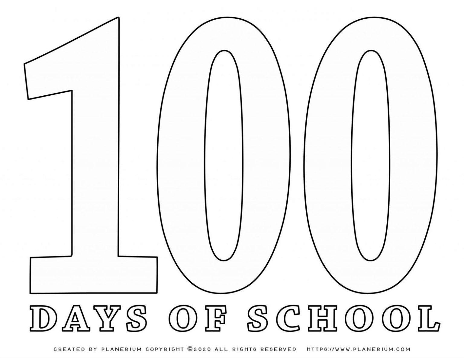 100 Days of School - Coloring Page - Big 100 | Planerium