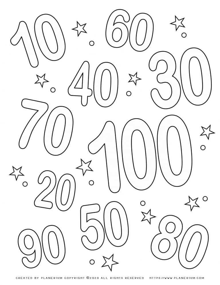 100 Days of School - Coloring Page - Numbers | Planerium