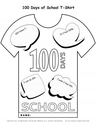 100 Days of School - Coloring Page - 100 Days T-Shirt | Planerium