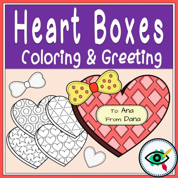 Valentines Day Coloring and Greetings heart boxes