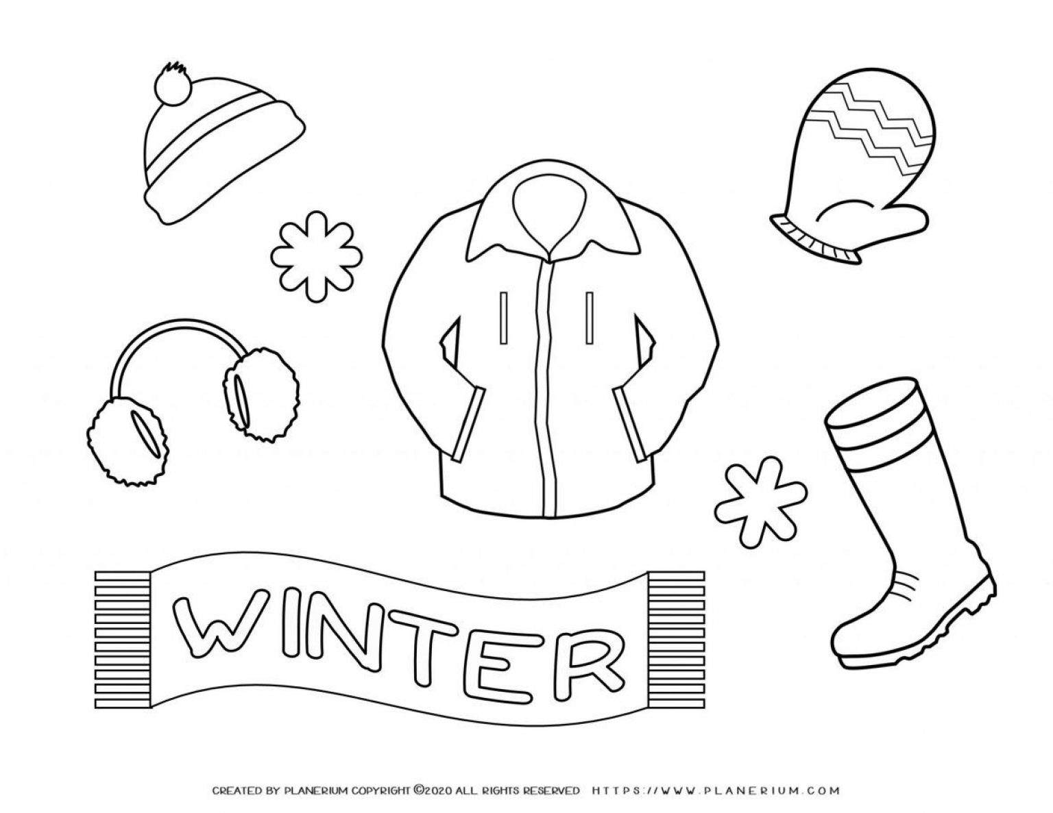 Winter Coloring Page - Winter Clothes | Planerium