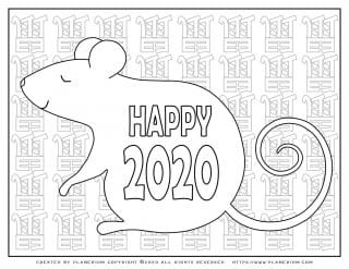 Lunar New Year Chinese Year of the Rat 2020 - Coloring Page - Happy Big Rat | Planerium