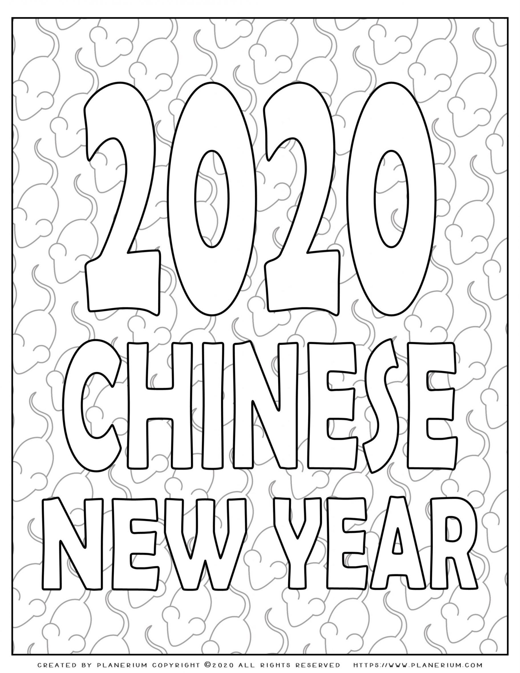 Lunar New Year Chinese Year of the Rat 2020 - Coloring Page - Poster | Planerium