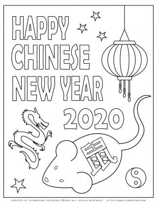 Lunar New Year Chinese Year of the Rat 2020 - Coloring Page - Symbols | Planerium