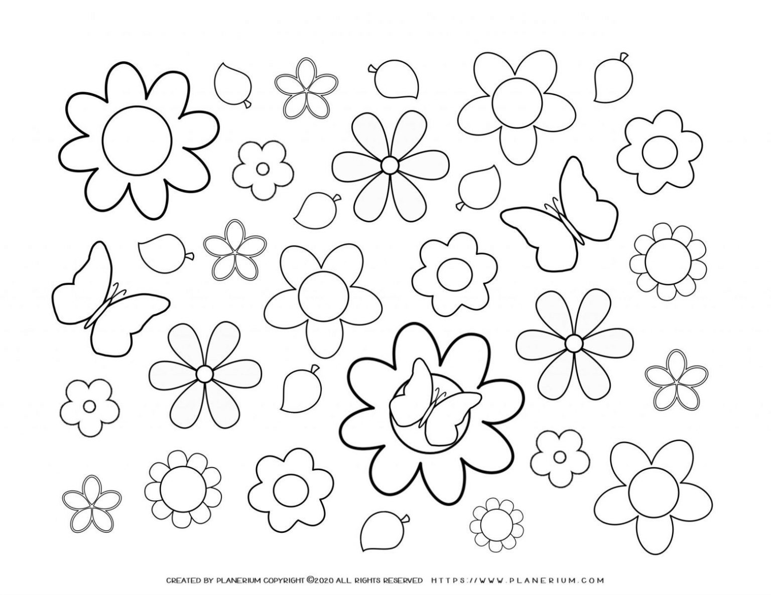 Spring season coloring pages | Flowers butterflies | Planerium