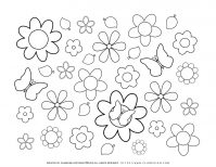 Spring season coloring pages   Flowers butterflies   Planerium