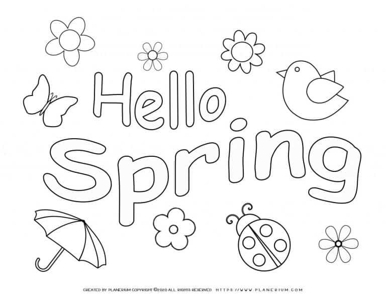 Spring season coloring Pages | Hello spring | Planerium