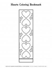 Valentines Day Coloring Page - Decorative Hearts Bookmark