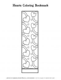 Valentines Day Coloring Page - Bookmark Rings of Hearts