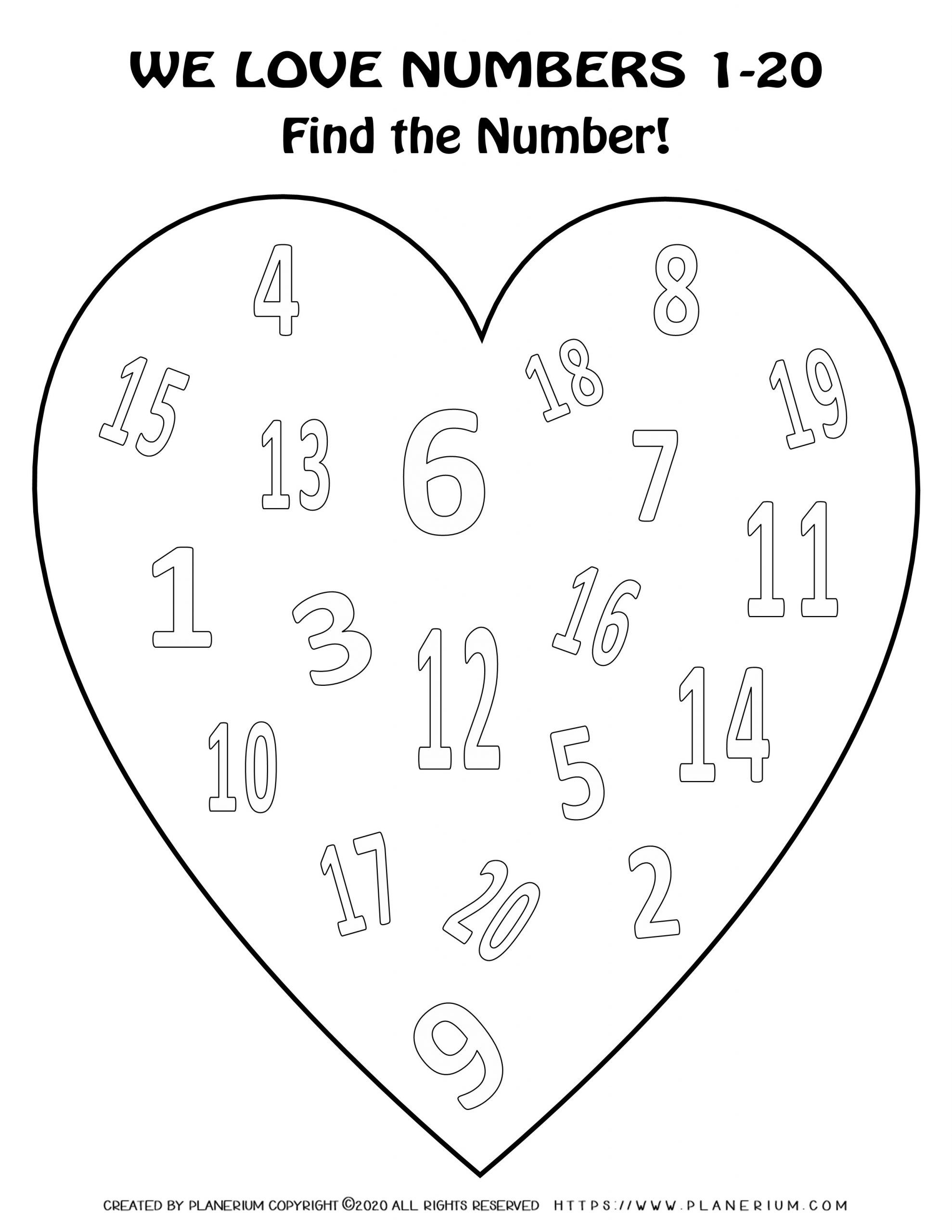 Valentines Day Coloring Page - Hearts Numbers 1 to 20