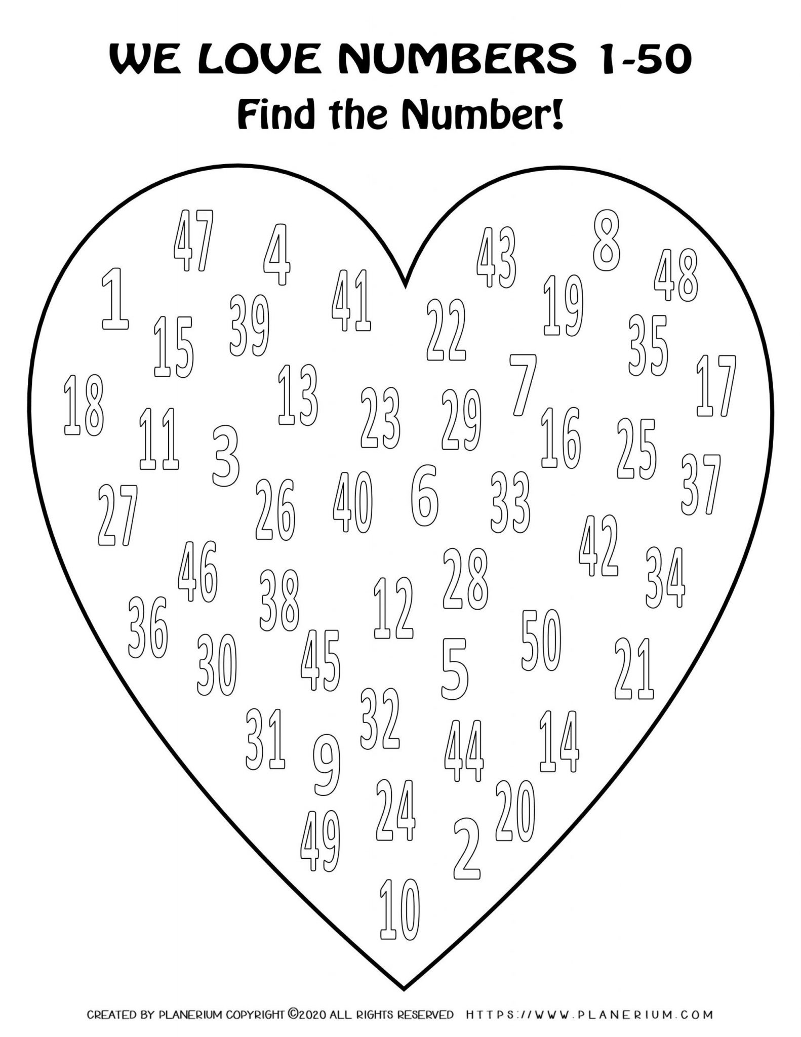 Valentines Day Coloring Page - Hearts Numbers 1 to 50