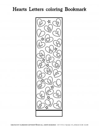 Valentines Day Coloring Page - Bookmark Hearts with Letters