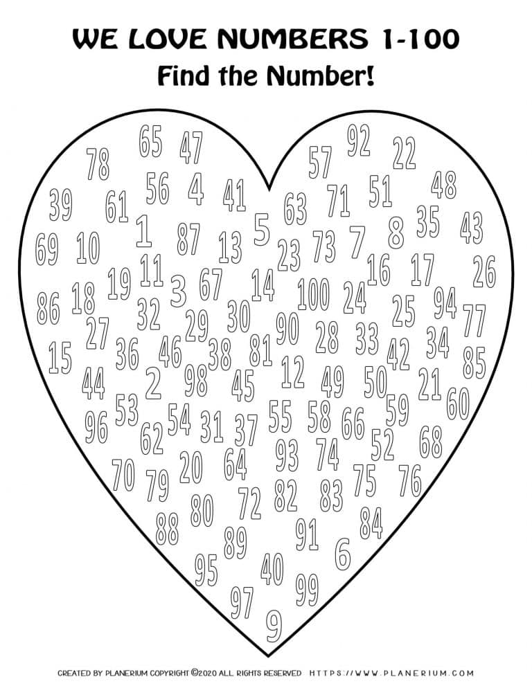 Valentines Day Coloring Page - Hearts Numbers 1 to 100