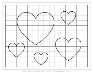 Valentines Day Coloring Page - Hearts on a Grid