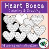 Valentines Day Coloring and Greetings heart boxes 1