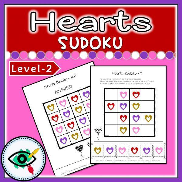 Valentines Day Heart colors Sudoku 2 | Planerium