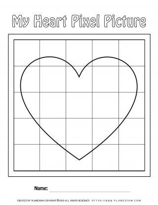 Valentines Day Worksheet - Big Heart on Large grid