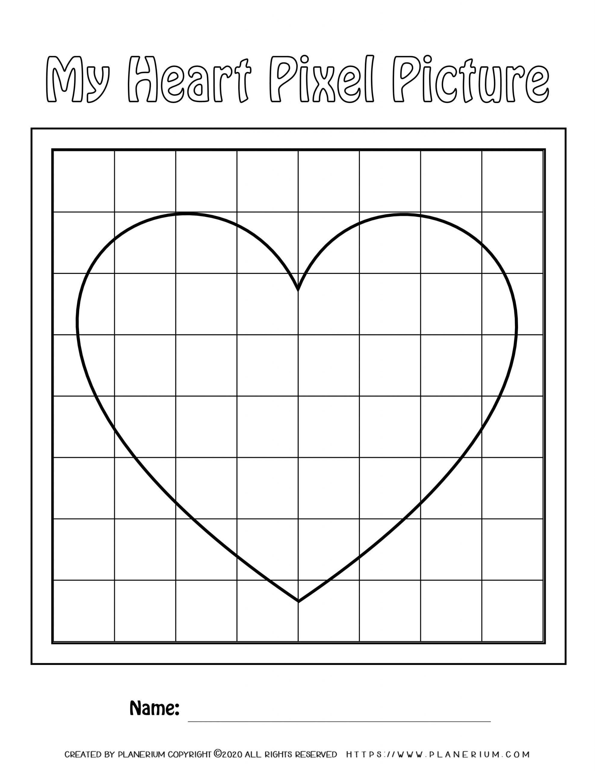 Valentines Day Worksheet - Big Heart on Medium grid