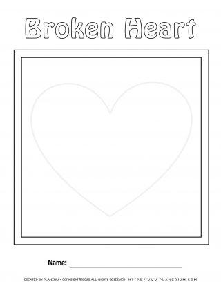 Valentines Day Worksheet - Broken Heart Puzzle Layout