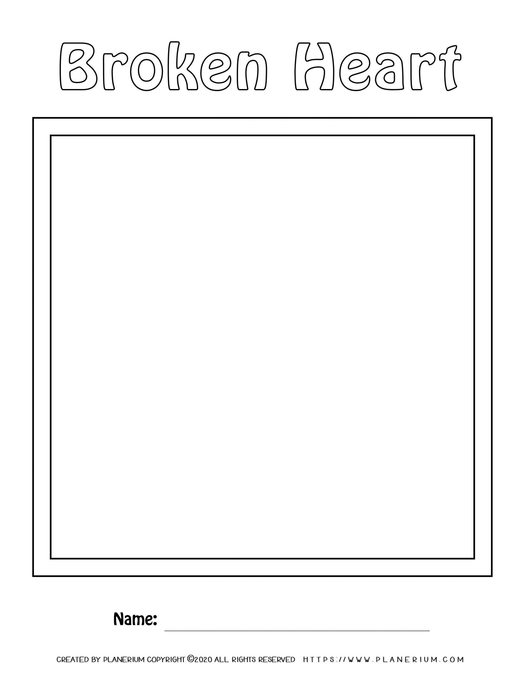 Valentines Day Worksheet - Broken Heart Puzzle Plain Board