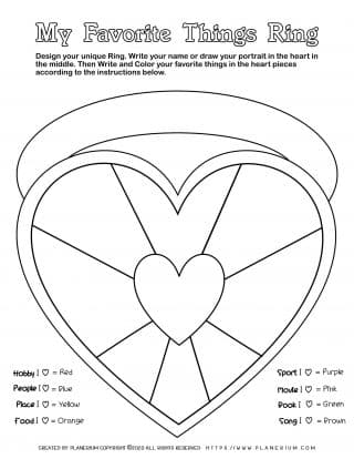 Valentines Day Worksheet - Heart Favorites Ring