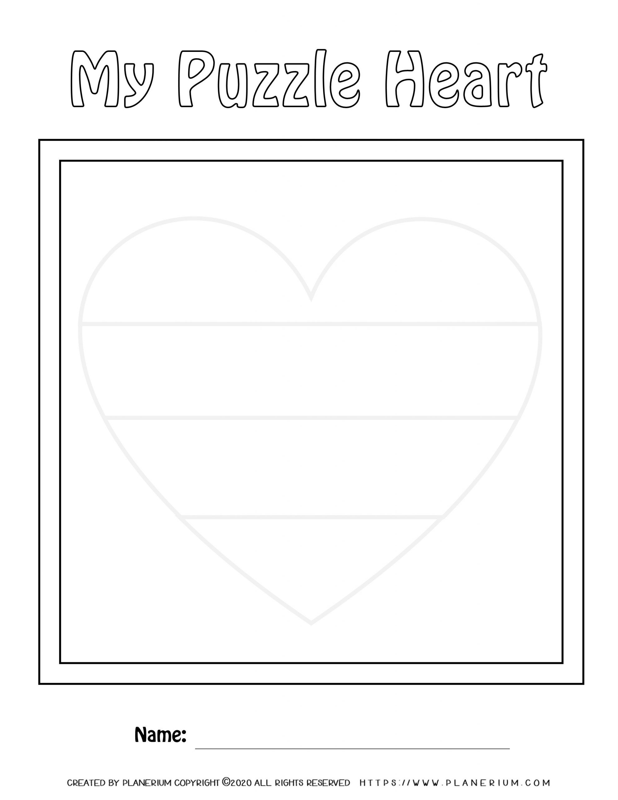 Valentines Day Worksheet - Heart Horizontal Puzzle Layout