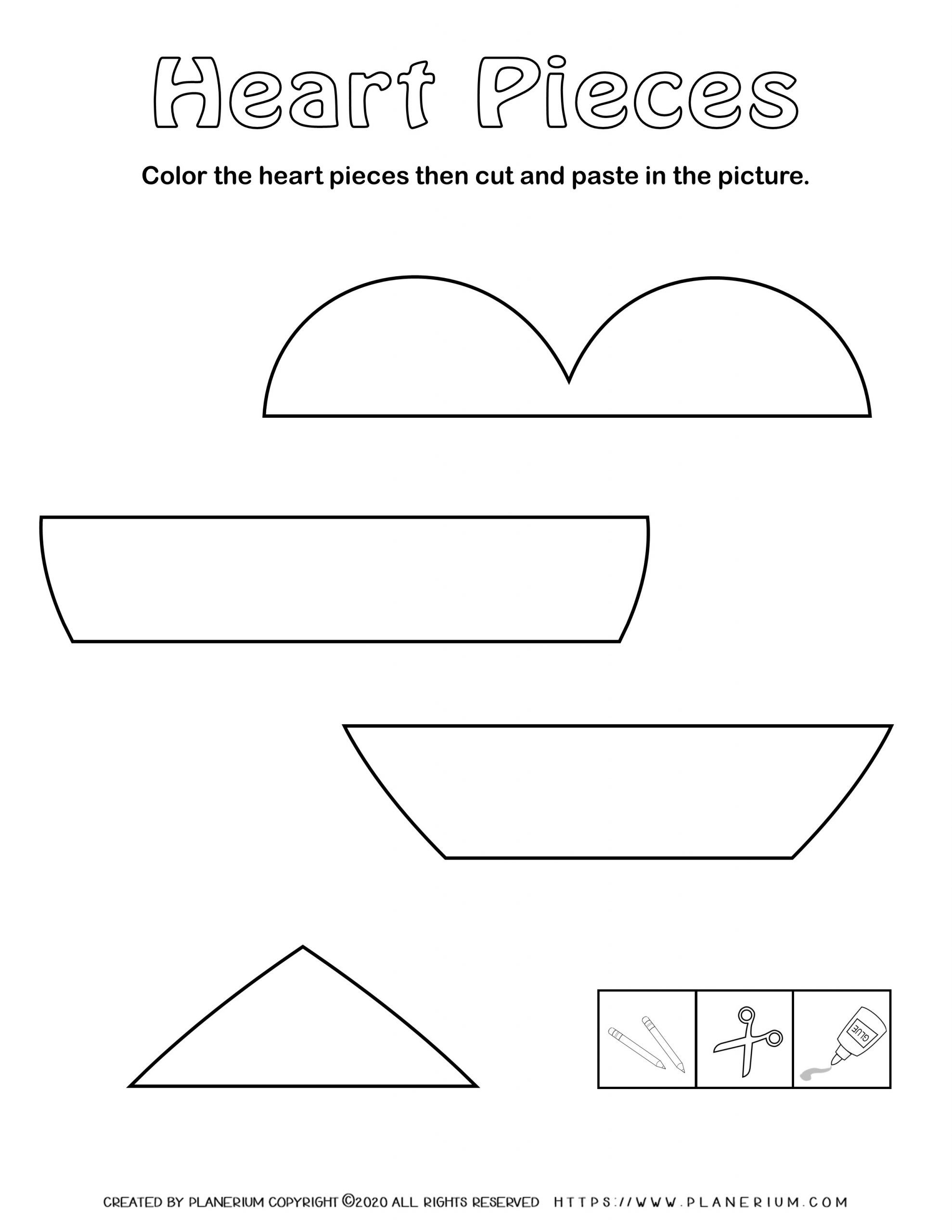 Valentines Day Worksheet - Heart Horizontal Puzzle