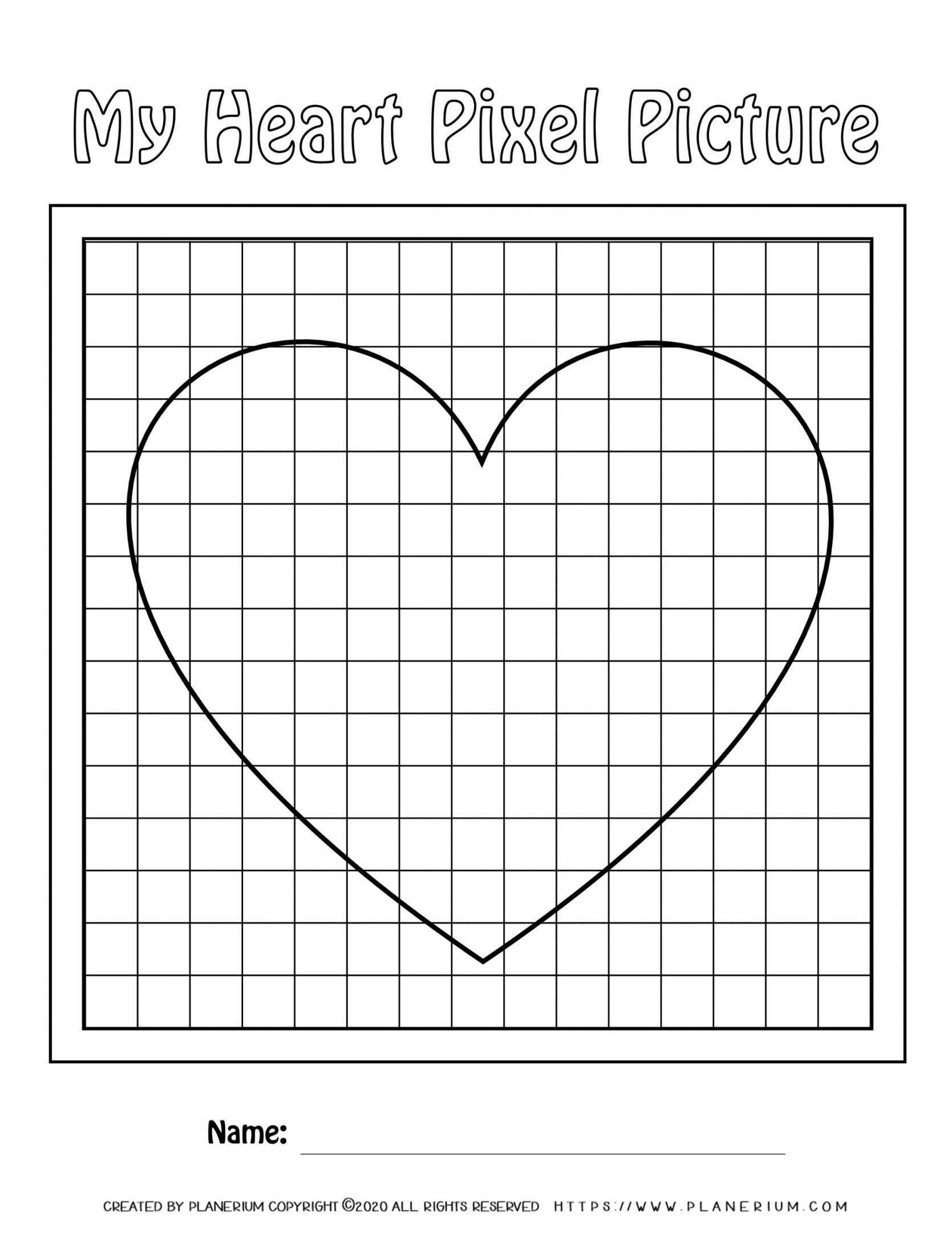 Valentines Day Worksheet - Big Heart on Small grid