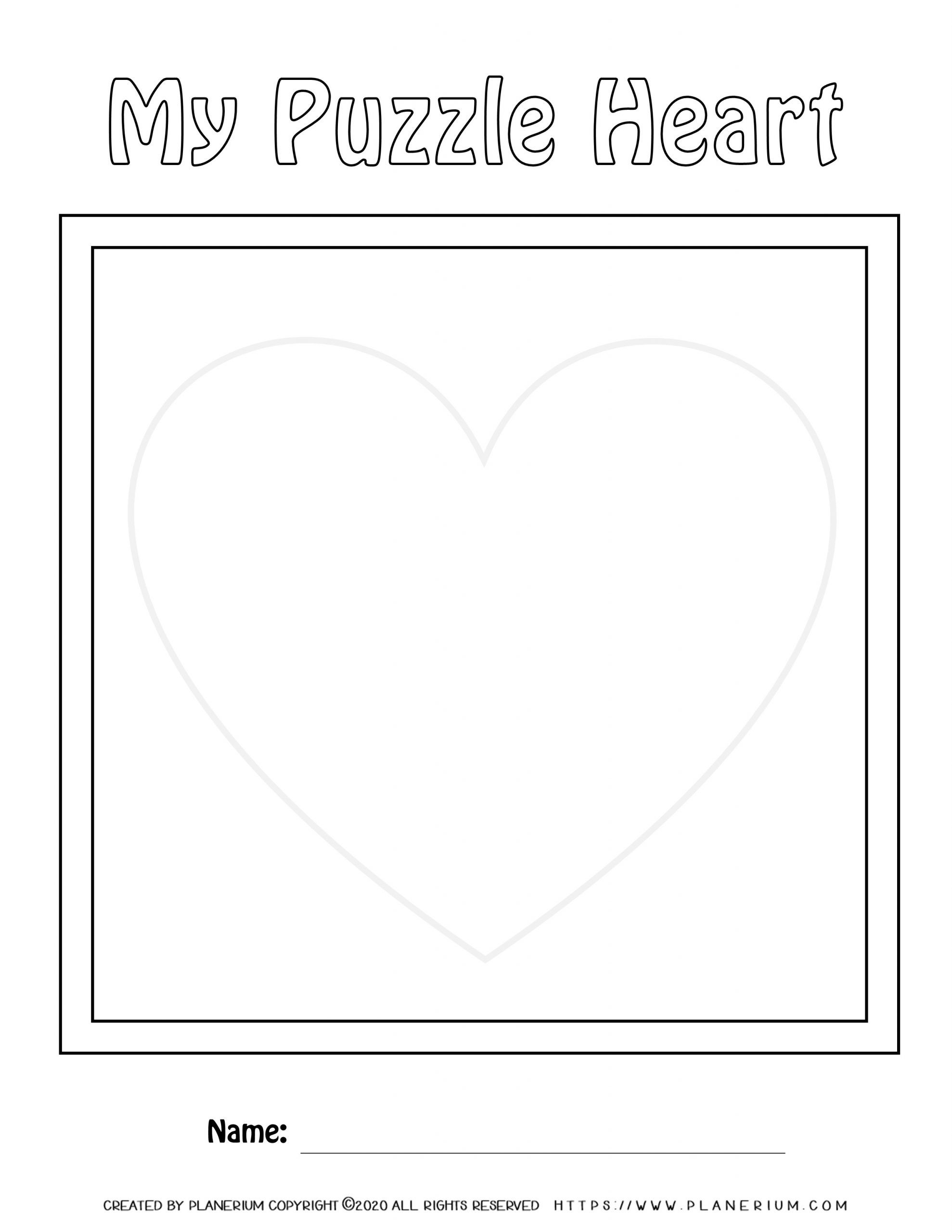 Valentines Day Worksheet - Heart vertical puzzle layout