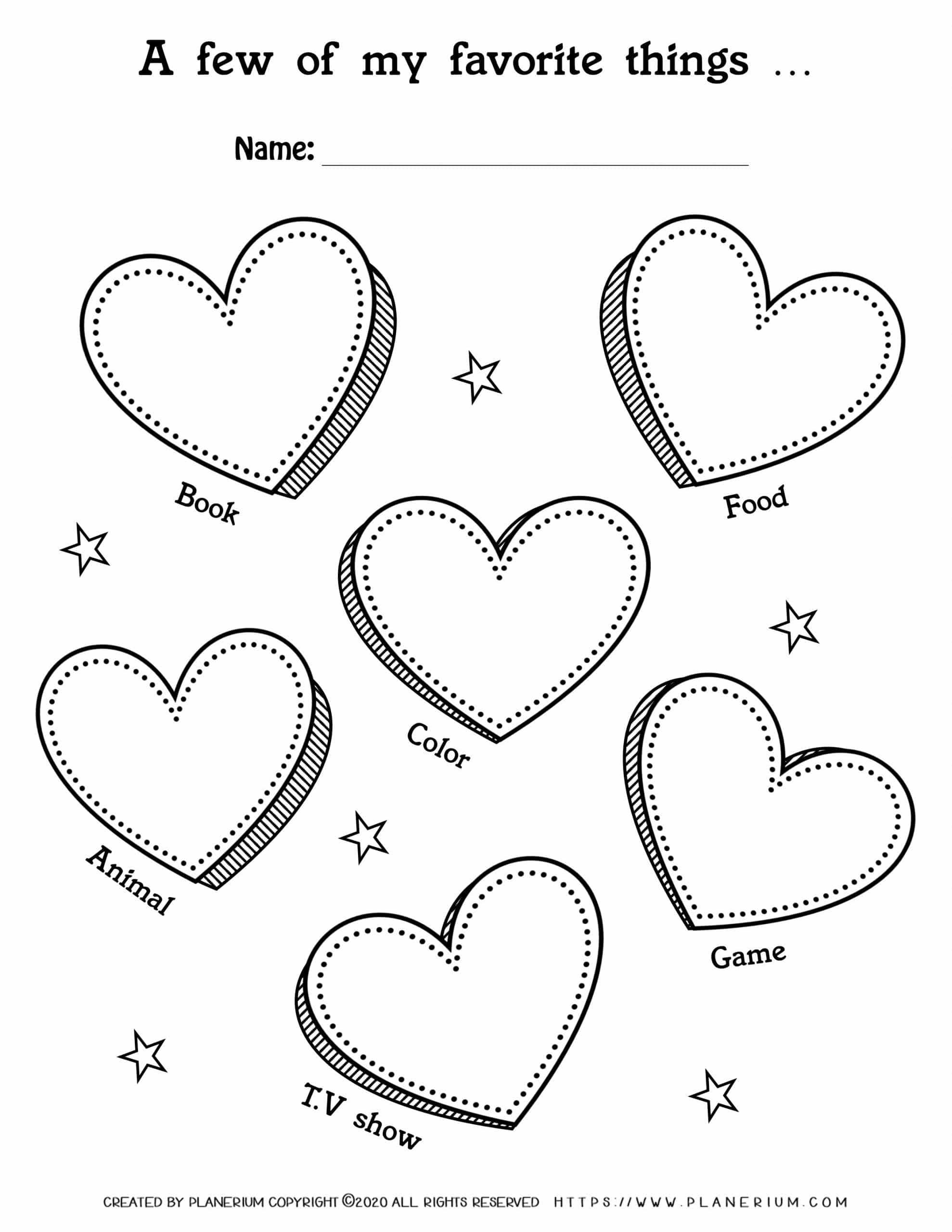 Valentines Day Worksheet - Hearts My favorite things