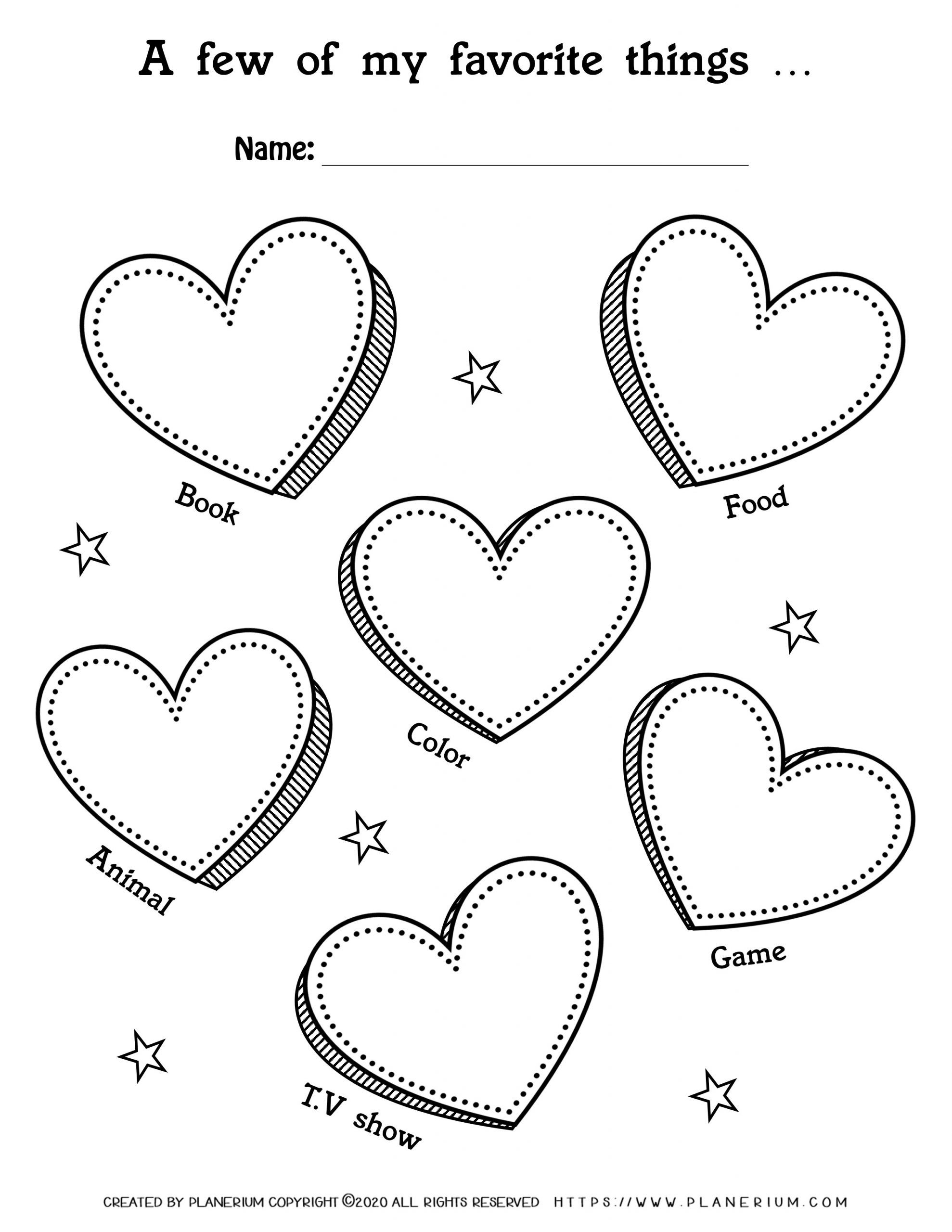 Valentines Day Worksheet - Hearts My favorite things