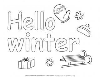Winter Coloring Page - Hello Winter | Planerium