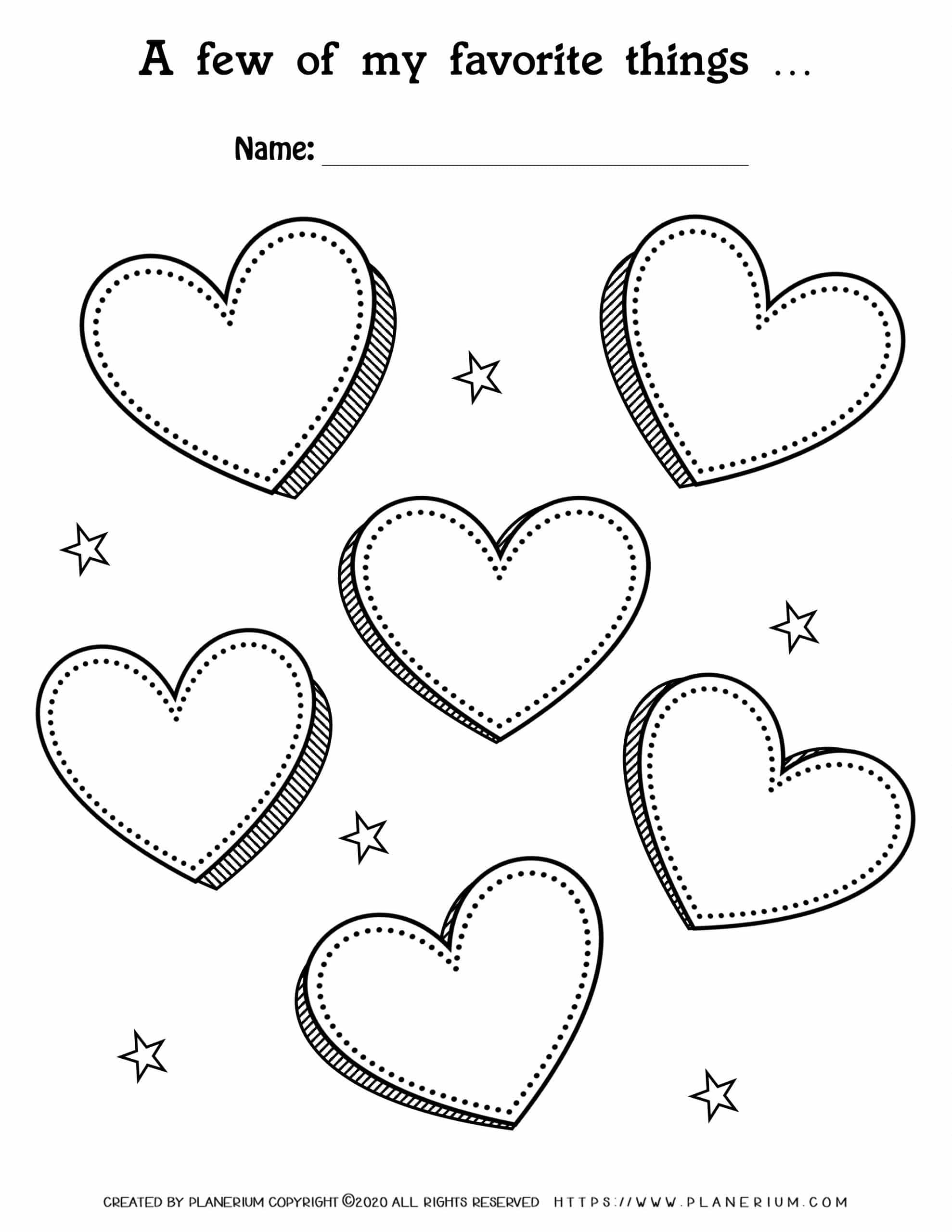Valentines Day Worksheet Page - Hearts My Favorites