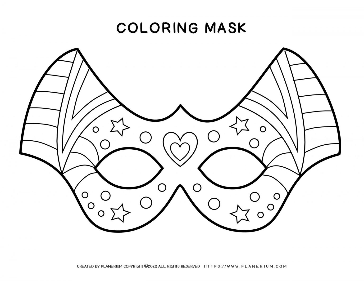 Carnival - Coloring Pages Worksheets - Eye Mask Decor   Planerium
