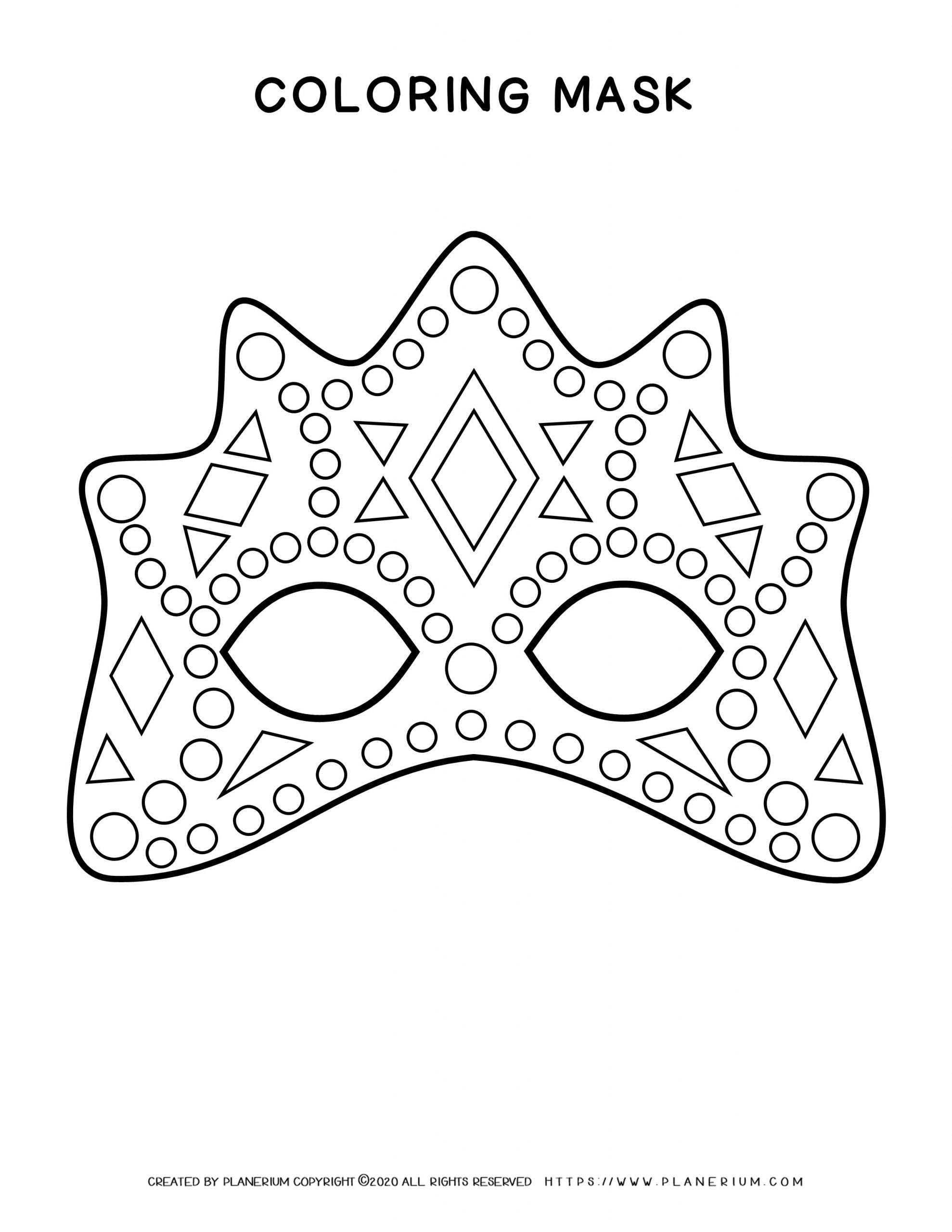 Carnival - Coloring page - Eye mask high decor | Planerium